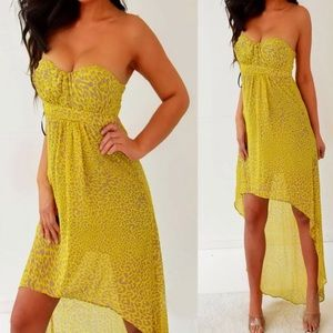 XS Jessica Simpson hi-lo yellow animal print dress